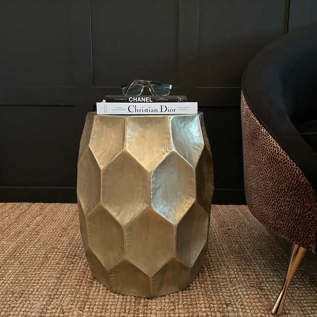 Honeycomb design champagne silver side table