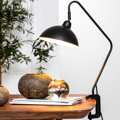 Black adjustable clamp table lamp