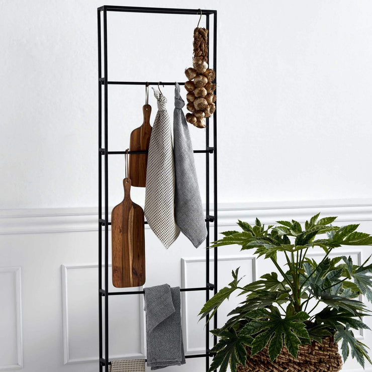 Black iron floor standing clothing rack with detachable shelves