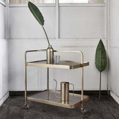 Gold framed two shelf cocktail trolley with a singular top and side handle