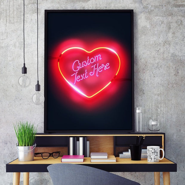 Custom neon LED love heart print