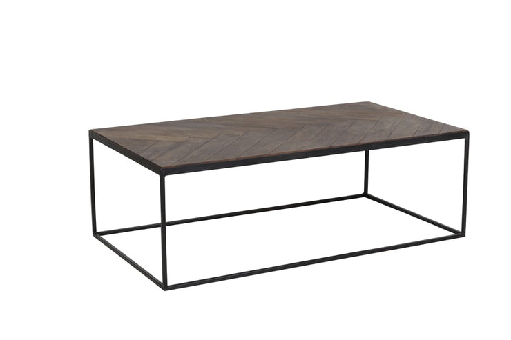 Dark wood coffee table with a dark metal geometric frame