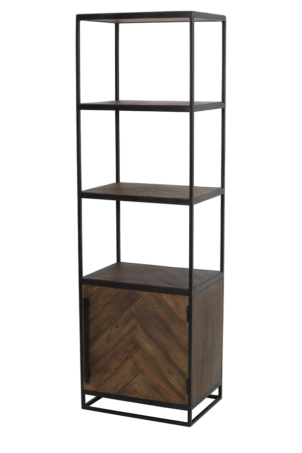 Tall dark wood display cabinet with a cupboard at the bottom and three open shelves above