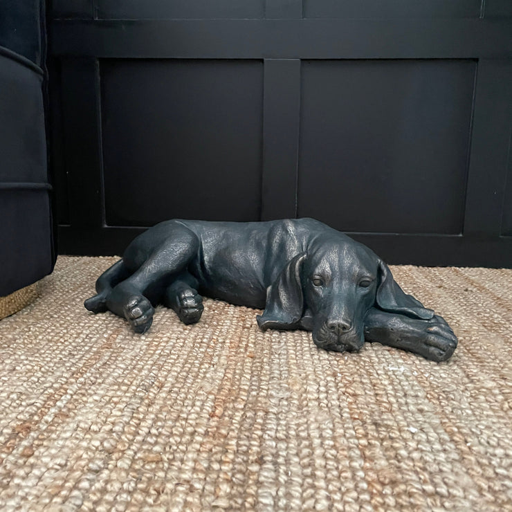 Black laying dog decorative ornament