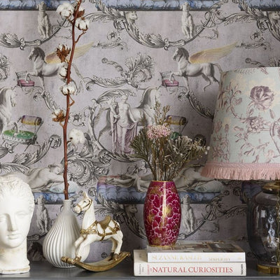 Pale pink wallpaper with angels and horses
