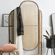 Hand woven three panel curved folding dressing screen