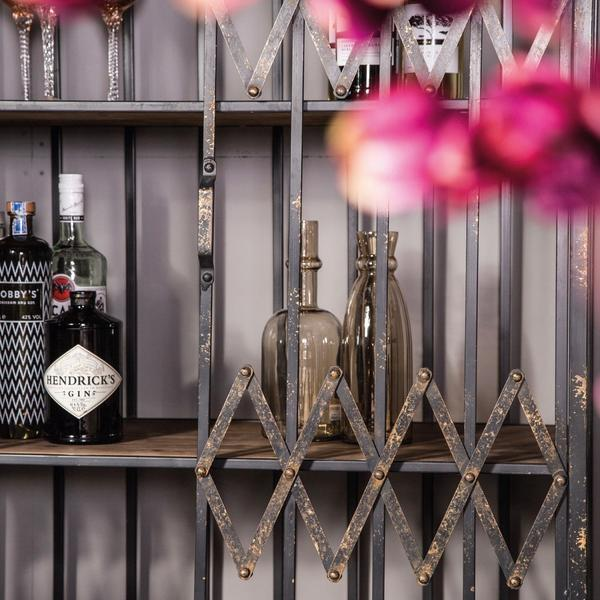 Metal elevator door drinks cabinet with wooden shelving
