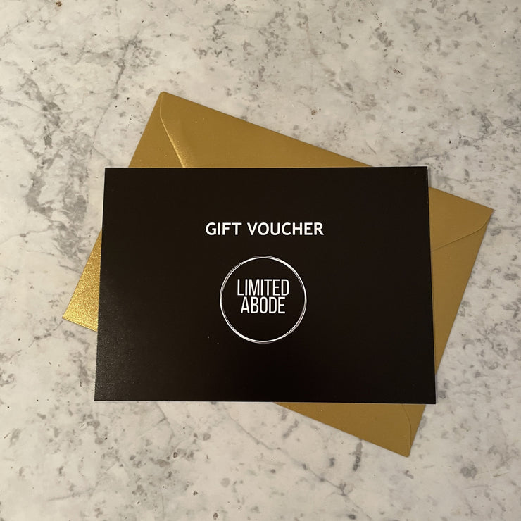 Limited Abode gift voucher with gold envelope