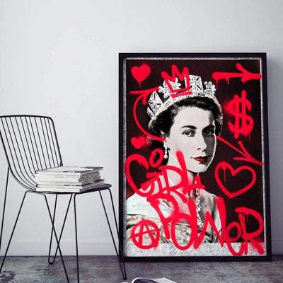 Queen Elizabeth black and white print with red graffiti