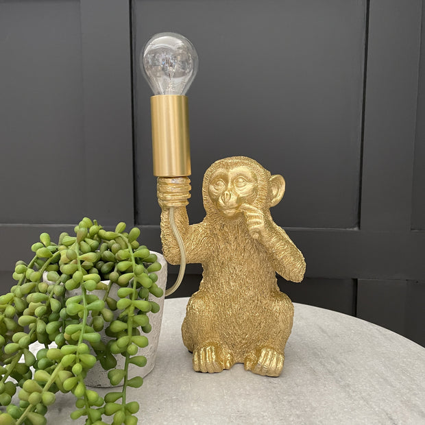 Gold baby monkey table lamp