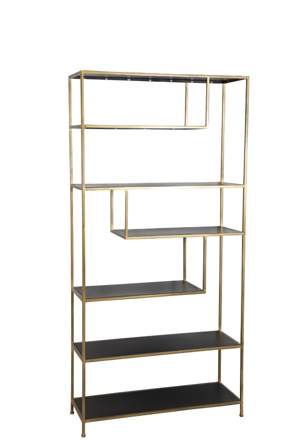 Freestanding gold shelving unit with staggered geometric clear glass shelves