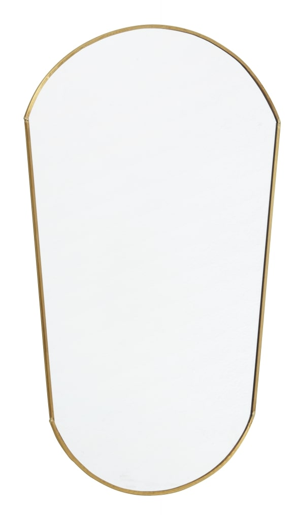 Curved gold finished mirror