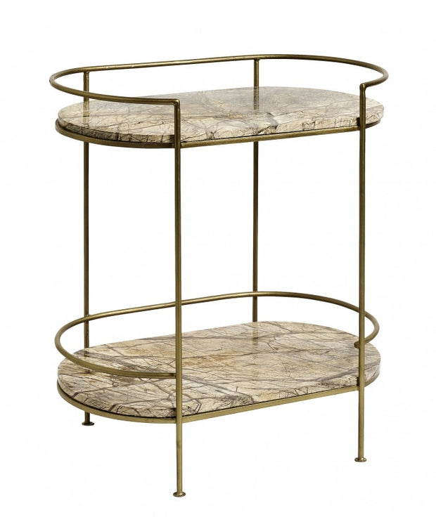 Pill shaped gold marble console table with two shelves