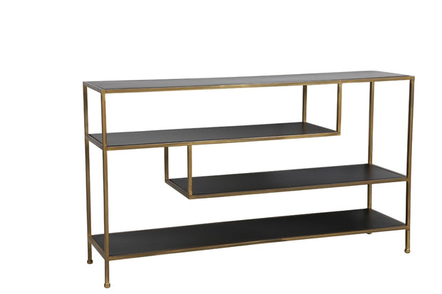 Freestanding gold console table with staggered geometric clear glass shelves