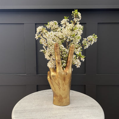 Gold peace hand vase