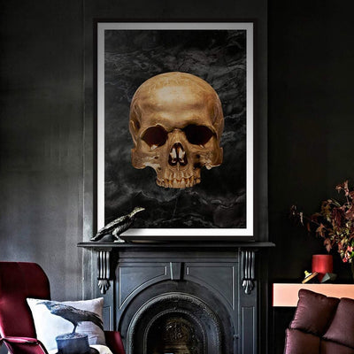 Gold skull black art print