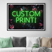 Green custom LED neon sign with a pink and blue floral background
