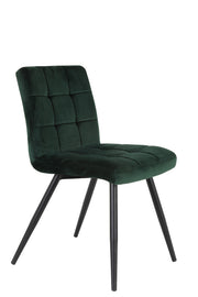 Green curved back stitched velvet dining chair with black wooden legs