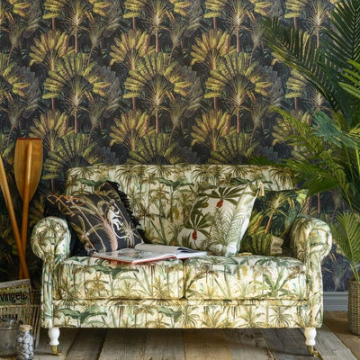 Green palm patterned wallpaper