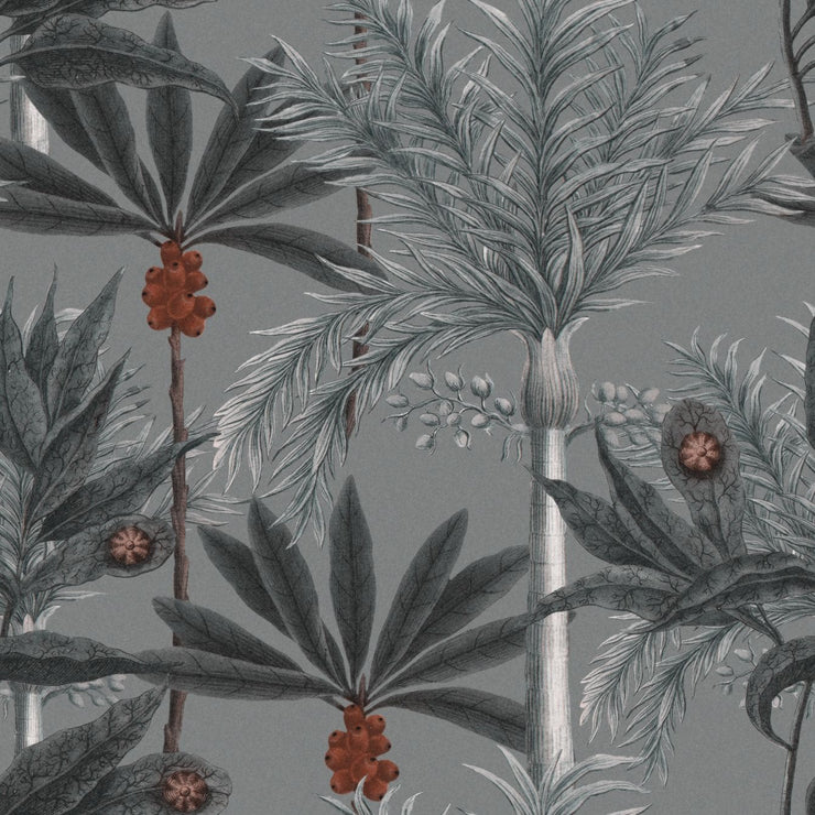 Grey palm patterned wallpaper