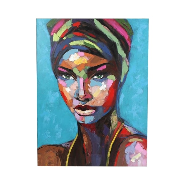 Blue canvas painted colourful woman with a head turban