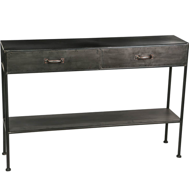 Two drawer industrial style console table with patina finish