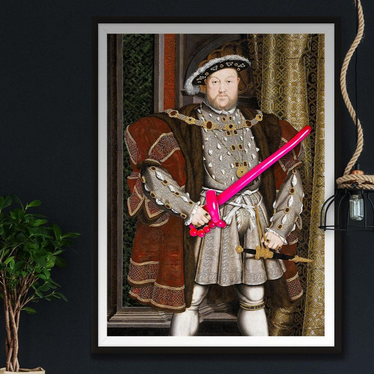 Henry 8th art print with a pink balloon sword