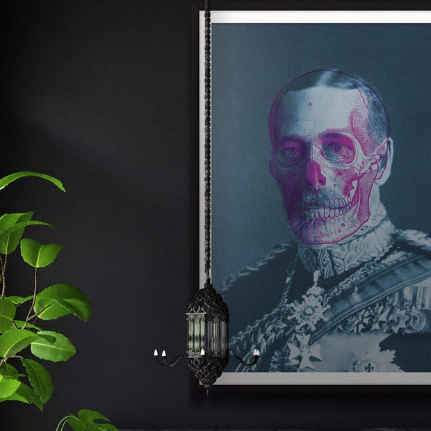 King George blue art print with a pink skull outline
