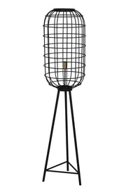 Large black caged design tripod floor lamp with black legs