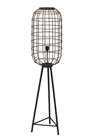 Large brass caged design tripod floor lamp with black legs
