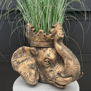 Large gold elephant head planter
