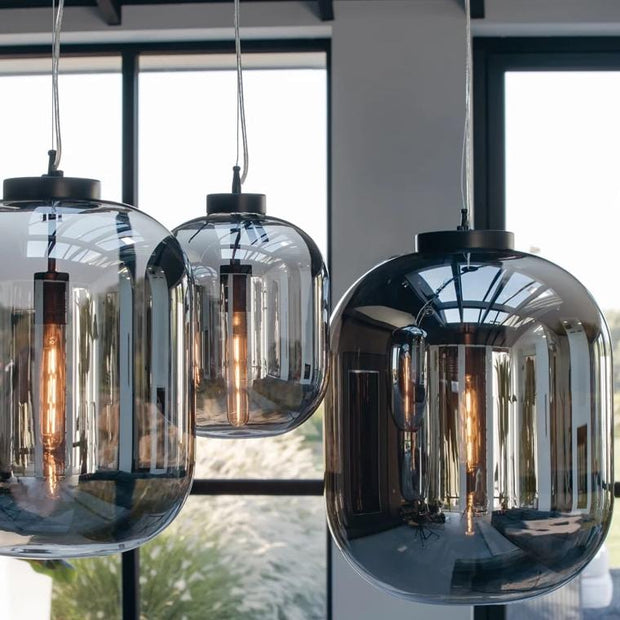 Large and medium oval pod shaped glass ceiling lights