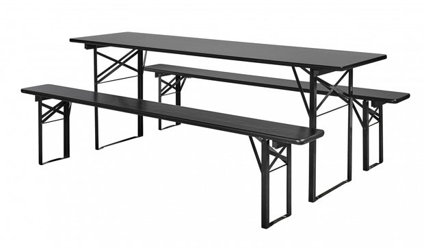 Black shiny pinewood industrial style dining room table with matching benches