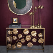 Gold leaf design open front console table
