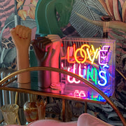 Multi coloured rainbow LED neon love wins sign box