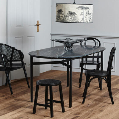Black marble oblong dining table with black legs