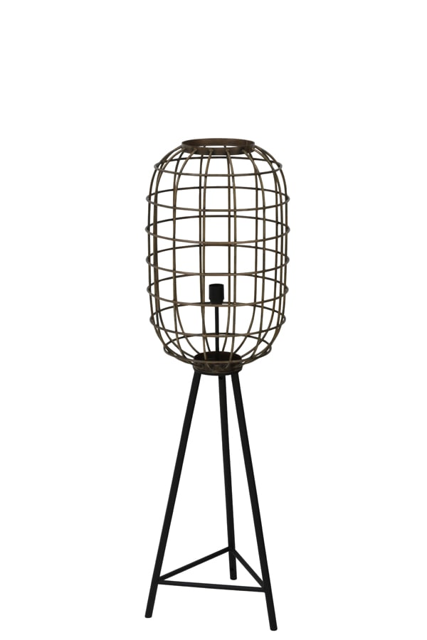 Medium brass caged design tripod floor lamp with black legs