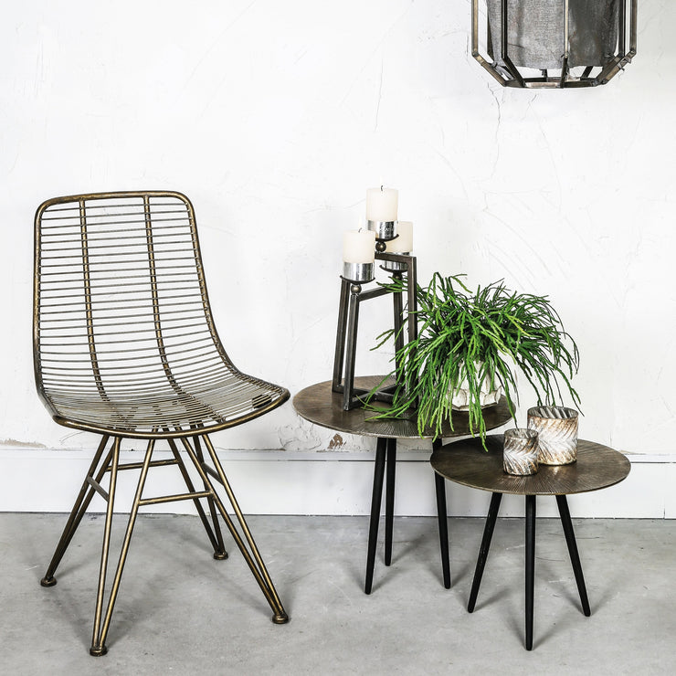 Brass metal dining chair with linear finish