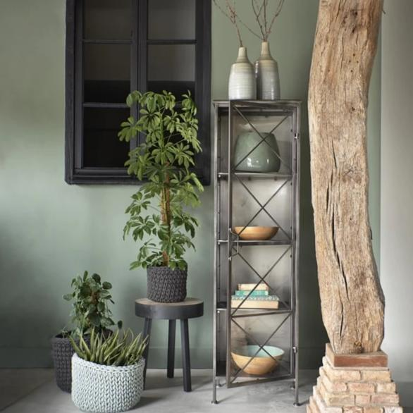 Tall metal display cabinet with four shelves and glass crossed metal design door