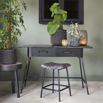 Patina antique black industrial style metal dressing table with two drawers
