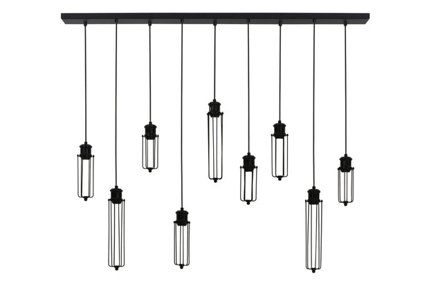 Black linear nine light caged ceiling light