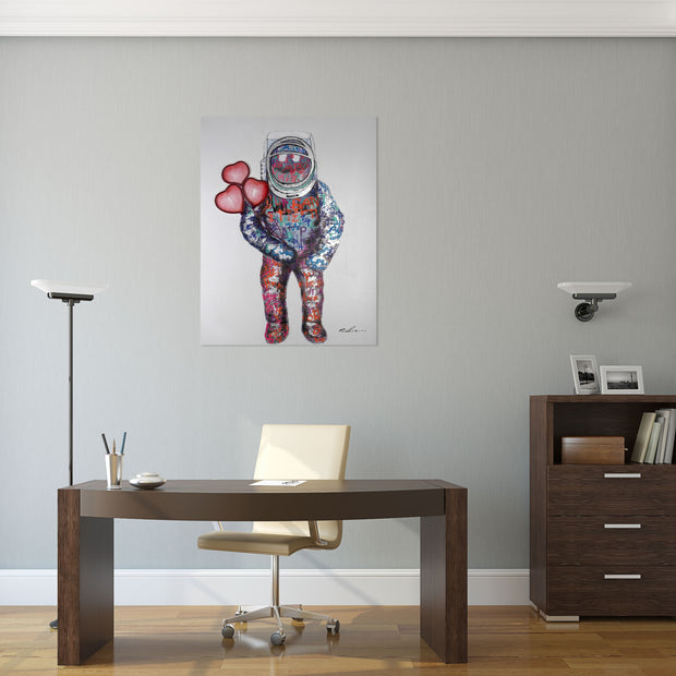 Graffiti astronaut painting with pink & red LED neon love heart balloons