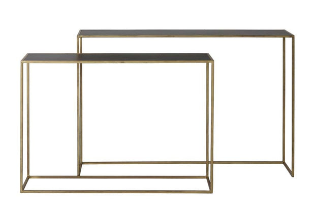Set of two rectangular gold console tables