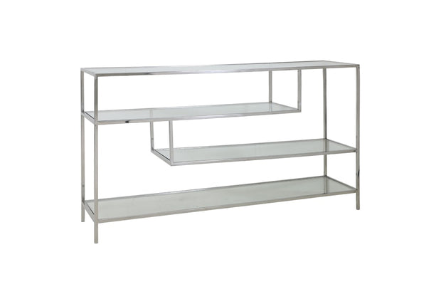 Freestanding silver console table with staggered geometric clear glass shelves