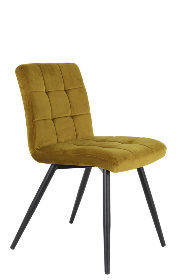 Ochre curved back stitched velvet dining chair with black wooden legs