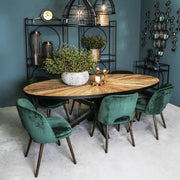 Black oval wooden panel dining table