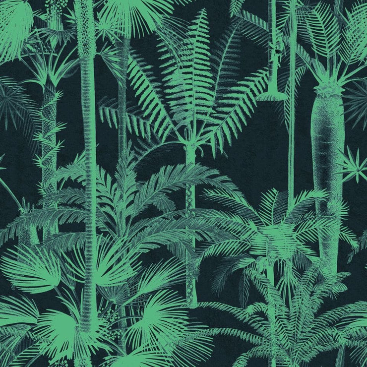 Green palm patterned wallpaper with a black background