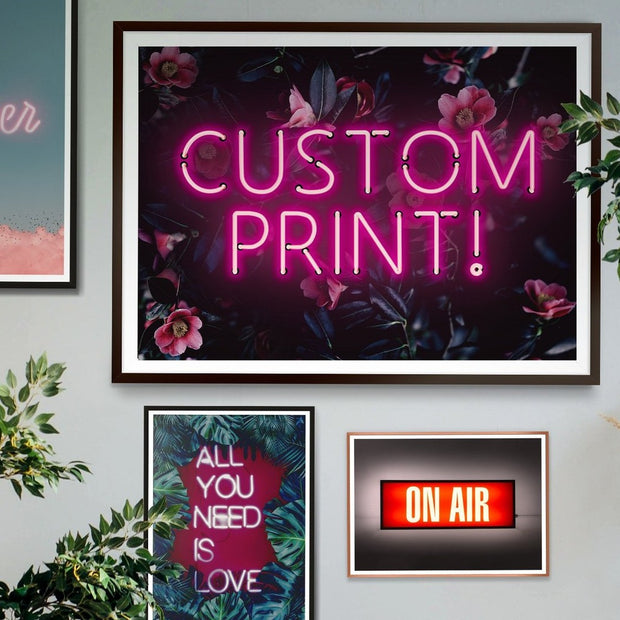 Pink custom LED neon sign with a pink and blue floral background