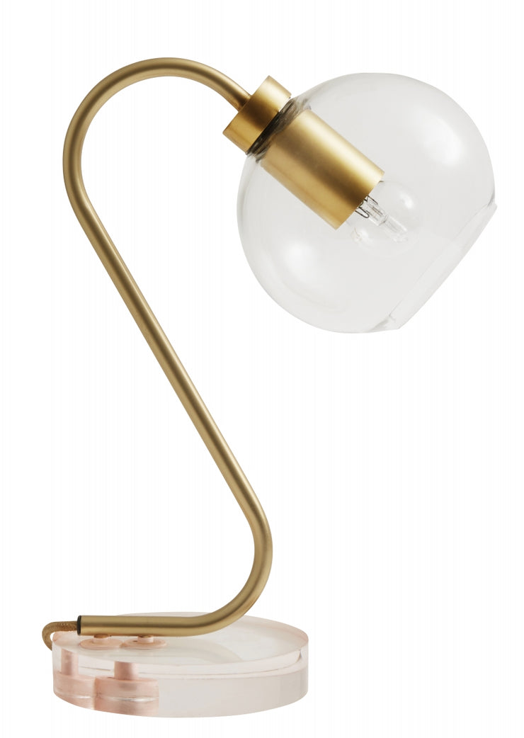 Clear glass globe brass table lamp with a subtle rose base