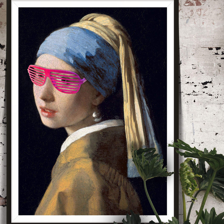 Girl with a pearl earring print wearing pink sunglasses